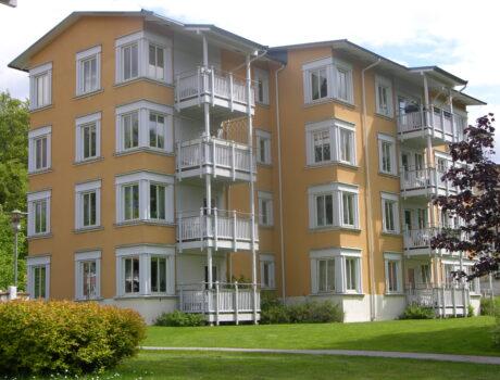 Wälludden, etapp I, flervåningsbostäder med trästommar / Wälludden Housing, phase I, multi-story wooden structure, Växjö, Sweden